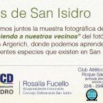 Aves de San Isidro: muestra fotográfica 22 y 23 de septiembre
