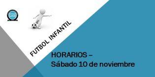 Fútbol Infantil: Horarios del sábado 10 de noviembre