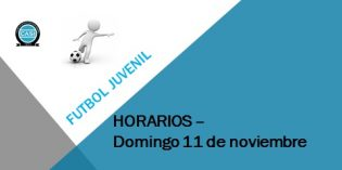 Fútbol Juvenil – Horarios Domingo 11 de noviembre