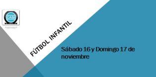 Fútbol Infantil – Horarios sábado 17 y domingo 18 de noviembre