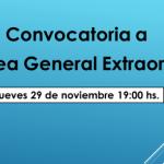 Convocatoria a Asamblea General Extraordinaria: Jueves 29 de noviembre